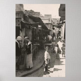 ca 1935 Street in Nazareth, vegetable market Poster