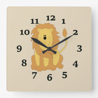 Caartoon Lion Square Wall Clock