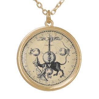 Cabala Emblem Mandala Gold Plated Necklace
