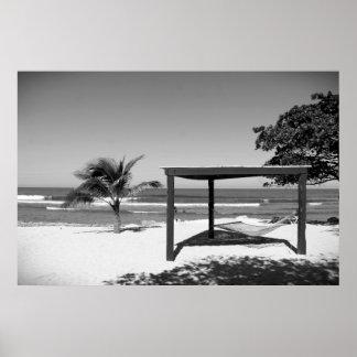 Cabana by the Beach - Labedee Haiti  2012 BW 3534 Poster