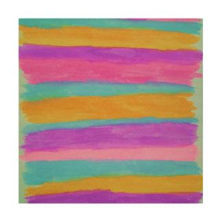 Cabana Stripes Abstract Art Wood Print