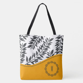 Cabana Theme in Charcoal and White with Yellow Tote Bag