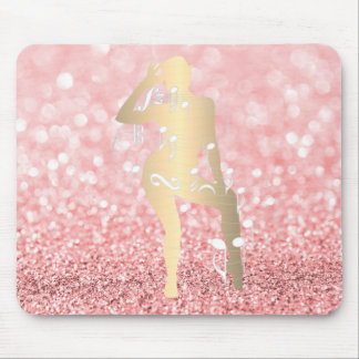 Cabaret Musical Dance Girl Glitter Pink Rose Gold Mouse Pad
