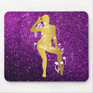 Cabaret Musical Dance Girl Glitter Purple Gold Mouse Pad