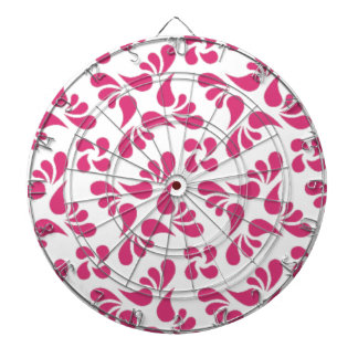 Cabaret Red Fuchsia And White Graphic Art Pattern Dartboards