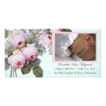 Cabbage Rose Birth Announcement for Baby Girl Photo Card