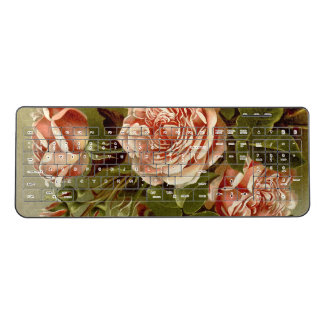 Cabbage Rose Flowers Leaves Wireless Keyboard