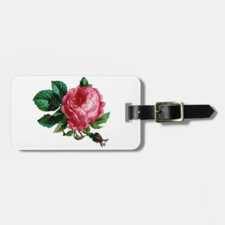 Cabbage Rose Luggage Tag