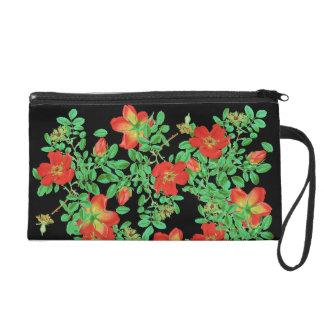 Cabbage Rose Rosebud Flowers Floral Vintage Bag Wristlets