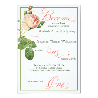 Cabbage Rose Script Christian Wedding Invitation