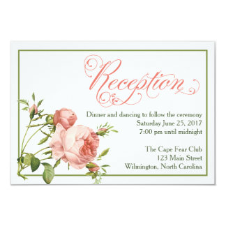 Cabbage Rose Wedding Reception Details Card