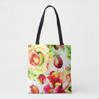 Cabbage Roses and Tulips Tote Bag