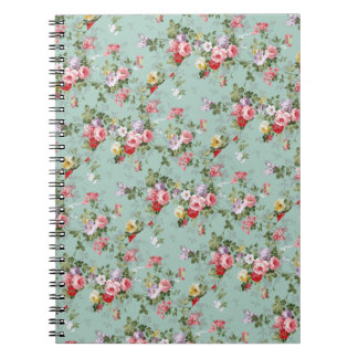 Cabbage Roses on Pale Blue Notebook