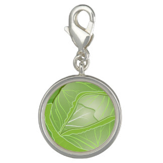 Cabbage Round Charm, Silver Plated Photo Charm