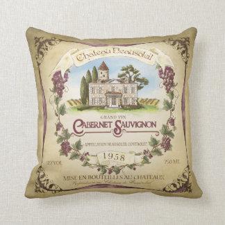 Cabernet Sauvignon Wine Label Art Pillow