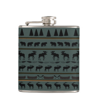 Cabin Blanket Design by Leslie Harlow Hip Flask