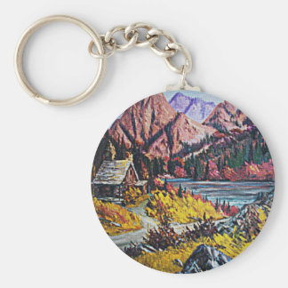 Cabin by the Lake Oil Painting Basic Round Button Keychain