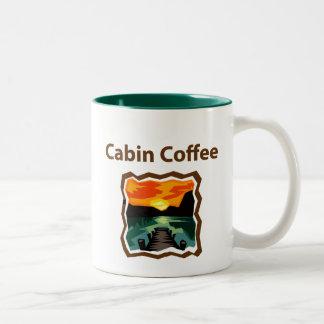 Cabin Coffee woodcut Two-Tone Mug