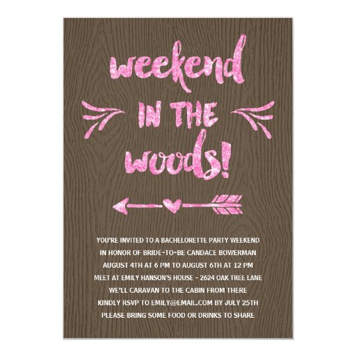 Cabin fever rustic chic bachelorette party 5 x 7 for Cabin bachelor party