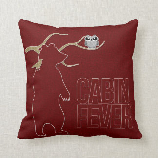 Cabin Fever Welcome to the Woods Deep Red Throw Pillow