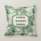 Cabin Forest Animals Green Pattern Throw Pillow