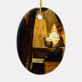 Cabin Gnome Ceramic Oval Ornament