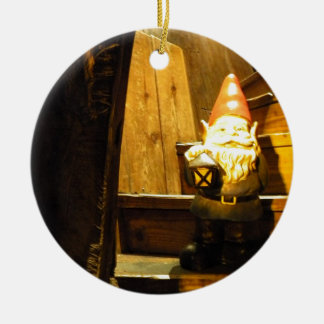 Cabin Gnome Round Ceramic Ornament