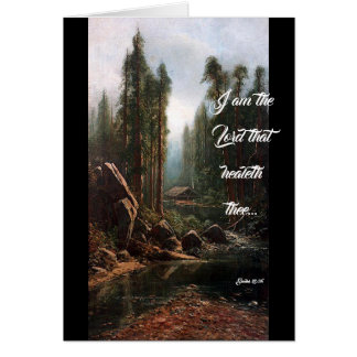 Cabin in Redwood Trees Stream God Heals Card