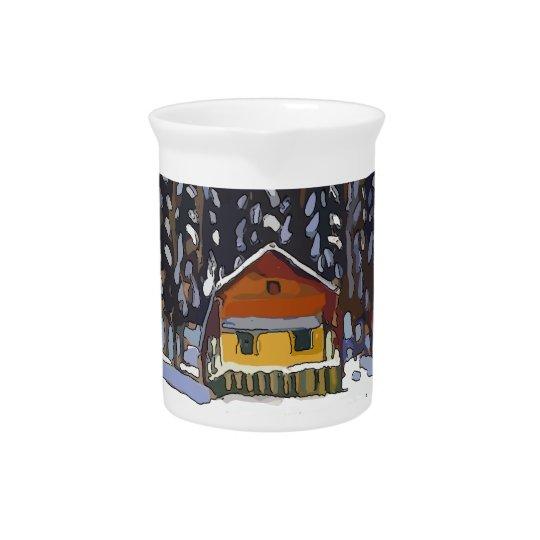 Cabin In Snow Beverage Pitcher