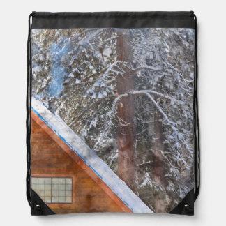 Cabin in the Snow Drawstring Bag
