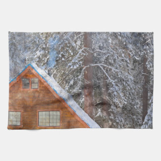 Cabin in the Snow Kitchen Towel