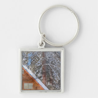Cabin in the Snow Silver-Colored Square Keychain