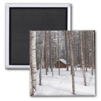 Cabin in winter magnet
