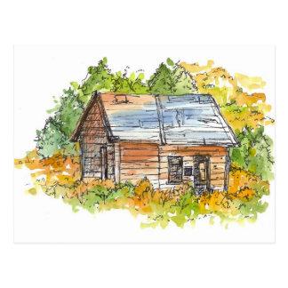 Cabin Ink Pen Sketch Watercolor Landscape Postcard