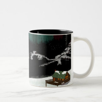 Cabin, mountains, aurora Two-Tone coffee mug