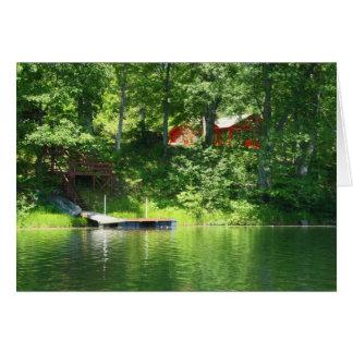 Cabin on lake card