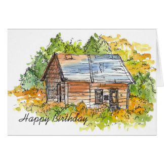 Cabin Pen and Ink Sketch Birthday Card Landscape