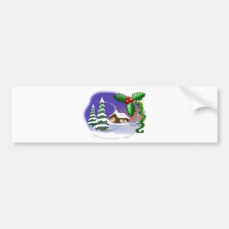 Cabin, Pine Trees, & Holly Christmas Winter Scene Bumper Sticker
