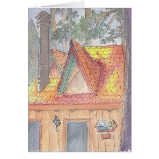 """Cabin Watercolor Sketch/Arrowhead"" Greeting Card"