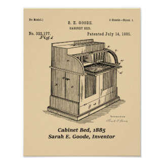 Cabinet Bed, Sarah E. Goode, Inventor Poster