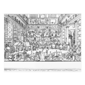 Cabinet of physics, 1687 postcard