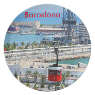 Cable cars (funiculars) in Barcelona Dinner Plates