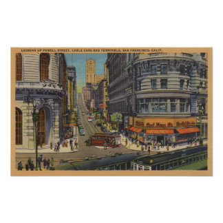 Cable Cars on Market and Powell Street Poster