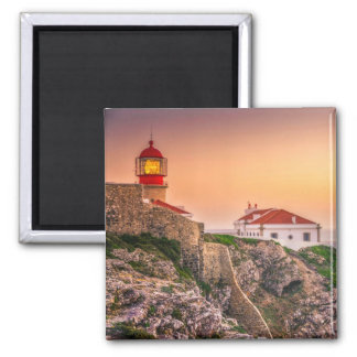 Cabo Sao Vicente At The Sunset | Algarve, Portugal Square Magnet