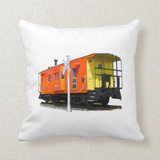 Caboose And Railroad Crossing Sign Throw Pillow