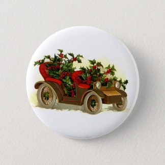 Cabriolet Filled With Holly Vintage Christmas 2 Inch Round Button