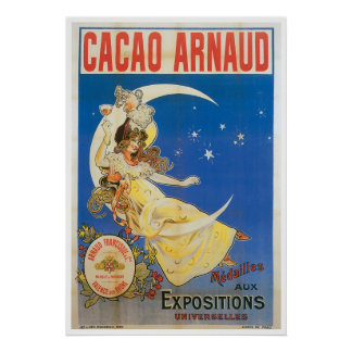 Cacao Arnaud Vintage Chocolate Drink Ad Art Poster