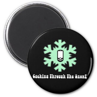 Caching Through The Snow 2 Inch Round Magnet