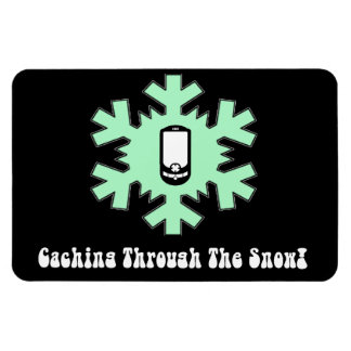 Caching Through The Snow! Rectangular Photo Magnet