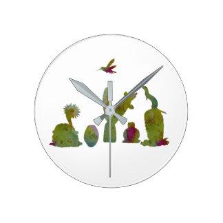 Cacti art round clock
